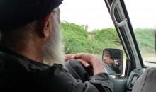 Abdul Sattar Edhi in his ambulance